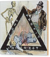 Triangle Factory Fire Wood Print by Granger