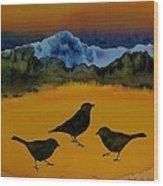3 Blackbirds Wood Print by Carolyn Doe