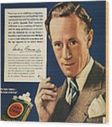 Lucky Strike Cigarette Ad Wood Print by Granger