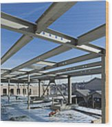 Structural Steel Construction Of An Wood Print by Don Mason