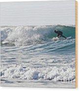 Surfers At Porthtowan Cornwall Wood Print by Brian Roscorla