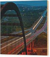 360 Bridge Morning Traffic Wood Print by Lisa  Spencer