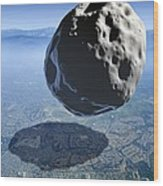 Asteroid Approaching Earth Wood Print by Detlev Van Ravenswaay