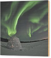 Aurora Borealis Over An Igloo On Walsh Wood Print by Jiri Hermann