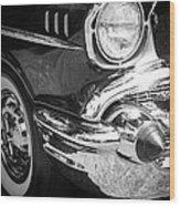 57 Chevy Black Wood Print by Steve McKinzie