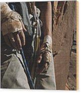 A Close View Of Rock Climber Becky Wood Print by Bill Hatcher