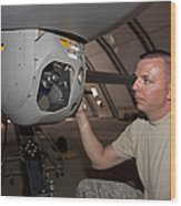 A Crew Chief Works On Mq-1 Predators Wood Print by HIGH-G Productions