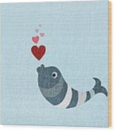 A Fish Blowing Love Heart Bubbles Wood Print by Jutta Kuss