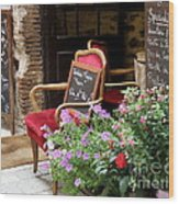 A French Restaurant Greeting Wood Print by Lainie Wrightson