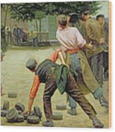 A Game Of Bourles In Flanders Wood Print by Remy Cogghe