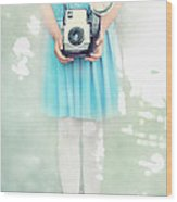 A Girl And Her Camera Wood Print by Stephanie Frey