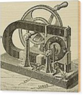 A Hand Cranked Device Onsisting Wood Print by Everett
