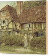 A Kentish Cottage Wood Print by Helen Allingham