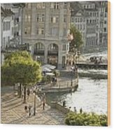 A Lucerne Street Scene In The City Wood Print by Annie Griffiths