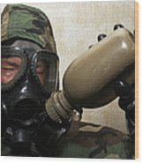 A Marine Drinks Water From A Canteen Wood Print by Stocktrek Images