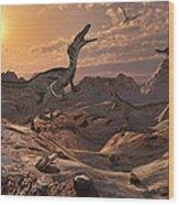 A Pack Of Carnivorous Velociraptors Wood Print by Mark Stevenson