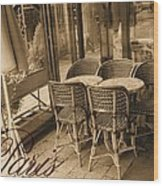A Parisian Sidewalk Cafe In Sepia Wood Print by Jennifer Holcombe
