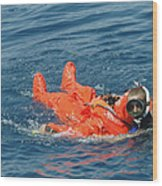 A Sailor Rescued By A Diver Wood Print by Stocktrek Images