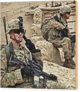 A Soldier Calls In Description Wood Print by Stocktrek Images