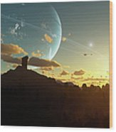 A Sunset On A Forested Moon Which Wood Print by Brian Christensen