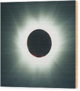 A Total Solar Eclipse Over France Wood Print by Carsten Peter