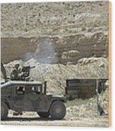 A U.s. Marine Fires A Mark 19-3 40mm Wood Print by Stocktrek Images
