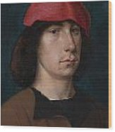 A Young Man In A Red Cap Wood Print by Michiel Sittow