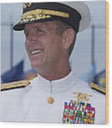 Admiral Eric T. Olson Speaks Wood Print by Michael Wood