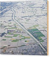 Aerial View Of Flooded Farmland Wood Print by Jeremy Woodhouse