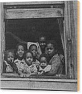 African American Woman And Six Children Wood Print by Everett