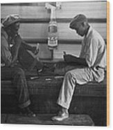 African American Young Men Play A Card Wood Print by Everett