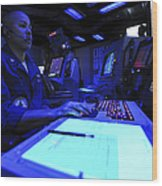 Air Traffic Controller Stands Watch Wood Print by Stocktrek Images