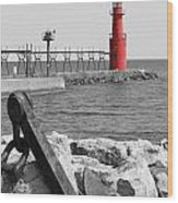 Algoma Lighthouse Is Anchored Wood Print by Mark J Seefeldt