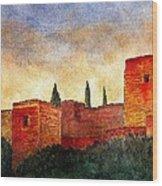 Alhambra At Sunset Wood Print by Barbara Smith
