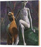 Alien And Dog Wood Print by Daniel Eskridge