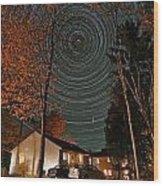 All Night Star Trails Wood Print by Larry Landolfi