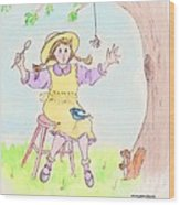 Along Came A Spider Little Miss Muffet Wood Print by Marybeth Friel-Patton