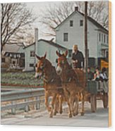 Amish Wagon Wood Print by Heidi Reyher