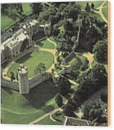 An Aerial View Of Warwick Castle Wood Print by Richard Nowitz