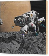 An Astronaut Makes First Human Contact Wood Print by Walter Myers