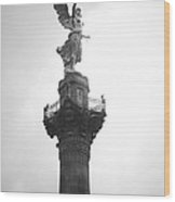 Angel Of Independence Bw Wood Print by L E Jimenez