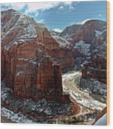 Angels Landing View From Top Wood Print by Daniel Osterkamp