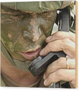 Army Master Sergeant Communicates Wood Print by Stocktrek Images