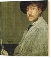 Arrangement In Grey - Portrait Of The Painter Wood Print by James Abbott McNeill Whistler