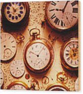 Assorted Watches On Time Chart Wood Print by Garry Gay