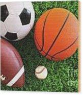 Assortment Of Sport Balls On Grass Wood Print by Sandra Cunningham