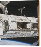 Astronauts Continue Maintenance Wood Print by Stocktrek Images