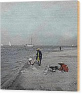 At The Beach Wood Print by Andrew Fare