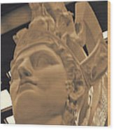 Athena Sculpture Sepia Wood Print by Linda Phelps