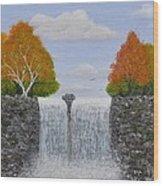 Autumn Waterfall Wood Print by Georgeta  Blanaru